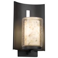 Justice Design ALR-7591W-10-MBLK-LED1-700 Alabaster Rocks LED 13 inch Outdoor Wall Sconce in 700 Lm LED Matte Black