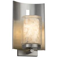 Justice Design ALR-7591W-10-NCKL-LED1-700 Alabaster Rocks LED 13 inch Outdoor Wall Sconce in 700 Lm LED Brushed Nickel