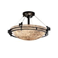 Justice Design ALR-8111-35-NCKL-LED3-3000 Alabaster Rocks LED 22 inch Brushed Nickel Semi-Flush Ceiling Light in 3000 Lm LED