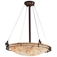 Justice Design ALR-8122-35-DBRZ-LED5-5000 Alabaster Rocks LED 28 inch Dark Bronze Pendant Ceiling Light Bowl