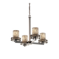 Alabaster Rocks 4 Light 25 inch Brushed Nickel Chandelier Ceiling Light in Cylinder with Flat Rim