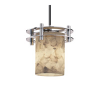 Justice Design Alabaster Rocks 1 Light Pendant in Polished Chrome ALR-8265-10-CROM-BKCD