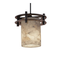 Alabaster Rocks 1 Light 7 inch Dark Bronze Pendant Ceiling Light in Cylinder with Flat Rim, Black Cord
