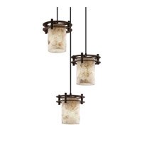 Justice Design Alabaster Rocks 3 Light Pendant in Matte Black ALR-8266-20-MBLK-BKCD