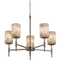 Justice Design Group Alabaster Rocks 5 Light Chandelier in Brushed Nickel ALR-8410-10-NCKL