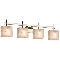 Alabaster Rocks 4 Light 33 inch Brushed Nickel Vanity Light Wall Light in Fluorescent, Rectangle