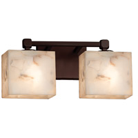 Alabaster Rocks 2 Light 15 inch Dark Bronze Vanity Light Wall Light in Fluorescent, Rectangle