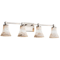 Alabaster Rocks 4 Light 33 inch Brushed Nickel Vanity Light Wall Light in Fluorescent, Round Flared