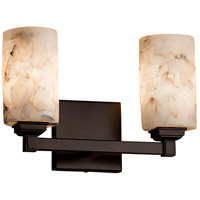 Alabaster Rocks 2 Light 13 inch Dark Bronze Vanity Light Wall Light in Fluorescent, Cylinder with Flat Rim