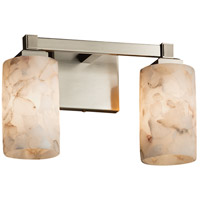 Alabaster Rocks 2 Light 13 inch Brushed Nickel Vanity Light Wall Light in Fluorescent, Cylinder with Flat Rim