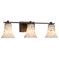 Alabaster Rocks 3 Light 26 inch Vanity Light Wall Light in 6.75, Dark Bronze, LED, Round Flared