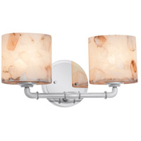 Justice Design ALR-8462-10-CROM Alabaster Rocks 2 Light 14 inch Polished Chrome Bath Bar Wall Light in Cylinder with Flat Rim, Incandescent