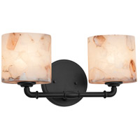 Justice Design ALR-8462-30-MBLK Alabaster Rocks 2 Light 17 inch Matte Black Bath Bar Wall Light in Oval Incandescent