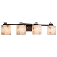 Justice Design ALR-8474-30-DBRZ Alabaster Rocks 4 Light 35 inch Dark Bronze Bath Bar Wall Light in Oval Incandescent