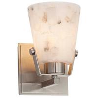 Justice Design ALR-8481-NCKL-LED1-700 Alabaster Rocks LED 5 inch Brushed Nickel Wall Sconce Wall Light in 700 Lm LED