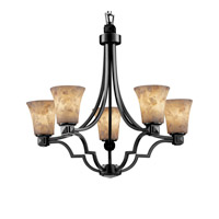Alabaster Rocks 5 Light 28 inch Dark Bronze Chandelier Ceiling Light in Fluorescent, Round Flared