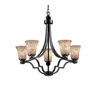 Justice Design Alabaster Rocks Argyle 5-Light Chandelier in Matte Black ALR-8500-20-MBLK photo thumbnail