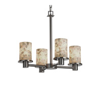 Justice Design Alabaster Rocks Rondo 4-Light Chandelier in Brushed Nickel ALR-8510-10-NCKL