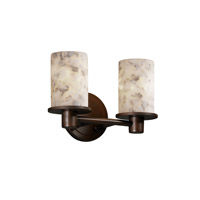Justice Design Alabaster Rocks Rondo 2-Light Bath Bar in Dark Bronze ALR-8512-10-DBRZ