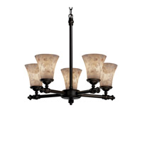 Justice Design Alabaster Rocks Tradition 5-Light Chandelier in Dark Bronze ALR-8520-20-DBRZ