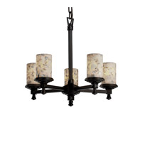 Justice Design Alabaster Rocks Deco 5-Light Chandelier in Dark Bronze ALR-8530-10-DBRZ