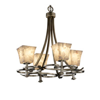 Justice Design Alabaster Rocks Arcadia 4-Uplight Chandelier in Antique Brass ALR-8560-40-ABRS