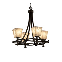 Alabaster Rocks 4 Light 24 inch Dark Bronze Chandelier Ceiling Light in Fluorescent, Square Flared