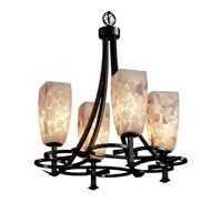 Alabaster Rocks 4 Light Matte Black Chandelier Ceiling Light in Fluorescent, Tall Tapered Square
