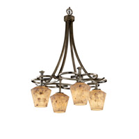 Justice Design Alabaster Rocks Arcadia 4-Downlight Chandelier in Antique Brass ALR-8565-22-ABRS
