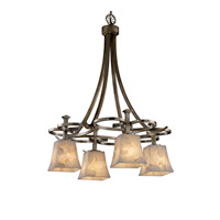 Justice Design Alabaster Rocks Arcadia 4-Downlight Chandelier in Antique Brass ALR-8565-40-ABRS