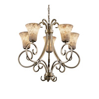Alabaster Rocks 5 Light Antique Brass Chandelier Ceiling Light in Round Flared, Incandescent