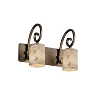 Alabaster Rocks 2 Light 15 inch Antique Brass Bath Bar Wall Light in Fluorescent, Cylinder with Flat Rim