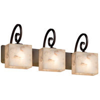 Alabaster Rocks 3 Light 26 inch Dark Bronze Vanity Light Wall Light in 10.75, LED, 25.5, Rectangle