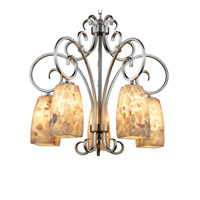 Alabaster Rocks 5 Light Brushed Nickel Chandelier Ceiling Light in Fluorescent, Tall Tapered Square
