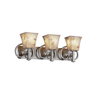 Justice Design Alabaster Rocks Heritage 3-Light Bath Bar in Brushed Nickel ALR-8583-40-NCKL