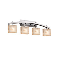 Alabaster Rocks 4 Light 36 inch Brushed Nickel Vanity Light Wall Light in Fluorescent, Rectangle