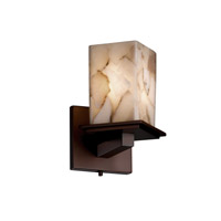 Justice Design Alabaster Rocks Montana 1-Light Wall Sconce (Angled Bobeche) in Dark Bronze ALR-8661-15-DBRZ