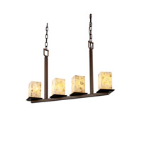 Justice Design Alabaster Rocks Montana 4-Light Bar Chandelier in Dark Bronze ALR-8678-15-DBRZ