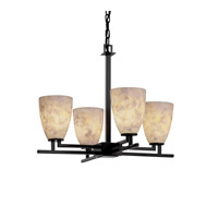 Alabaster Rocks 4 Light 23 inch Matte Black Chandelier Ceiling Light in Fluorescent, Tapered Cylinder