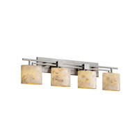 Justice Design Alabaster Rocks Aero 4-Light Bath Bar in Brushed Nickel ALR-8704-30-NCKL
