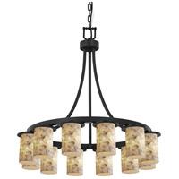 Justice Design ALR-8739-10-MBLK-LED12-8400 Alabaster Rocks LED 28 inch Matte Black Chandelier Ceiling Light Cylinder w/ Flat Rim