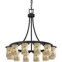 Justice Design ALR-8739-10-MBLK Alabaster Rocks 12 Light 28 inch Matte Black Chandelier Ceiling Light Cylinder w/ Flat Rim