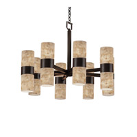 Justice Design Alabaster Rocks Dakota Small 16-Light Up & Down Chandelier in Dark Bronze ALR-8754-10-DBRZ