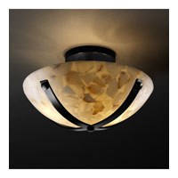 Alabaster Rocks 2 Light Matte Black Semi-Flush Bowl Ceiling Light