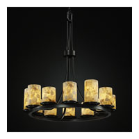 Justice Design Alabaster Rocks Dakota 12-Light Ring Chandelier (Tall) in Matte Black ALR-8763-10-MBLK