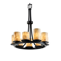 Justice Design Alabaster Rocks Dakota 9-Light Ring Chandelier in Matte Black ALR-8766-10-MBLK