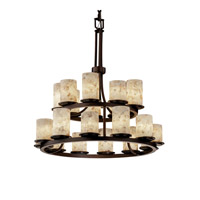 Justice Design Alabaster Rocks Dakota 21-Light 2-Tier Ring Chandelier in Dark Bronze ALR-8767-10-DBRZ