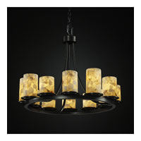 Justice Design Alabaster Rocks Dakota 12-Light Ring Chandelier (Short) in Matte Black ALR-8768-10-MBLK