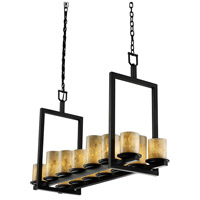 Justice Design Alabaster Rocks Dakota 14-Light Bridge Chandelier (Short) in Matte Black ALR-8769-10-MBLK