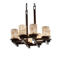 Justice Design Alabaster Rocks Dakota 8-Light Zig-Zag Chandelier in Dark Bronze ALR-8770-10-DBRZ